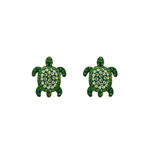 Stud Earrings : MUSTIQUE SEA LIFE TURTLE - GREEN  designed by Catherine Prevost in collaboration with Atelier Swarovski is in aid of the St. Vincent & the Grenadines Environment Fund.