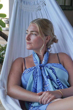 Large pure silk pareo scarf in Banana Tree blue design by Lotty B beautiful holiday styles from Mustique