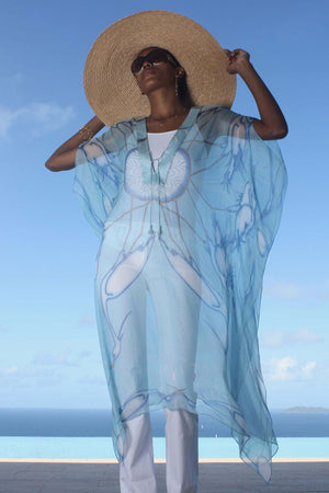 Lotty B 3/4 Length Kaftan in Chiffon (Egret Blue) Mustique style