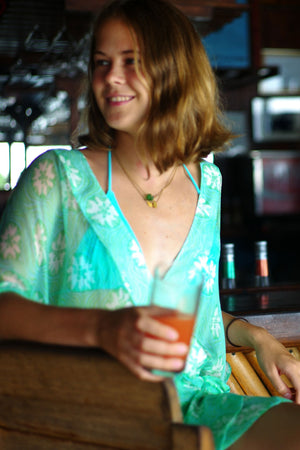 Kimono in Silk Chiffon: SAND DOLLAR - GREEN designer Lotty B Mustique vacation resort wear