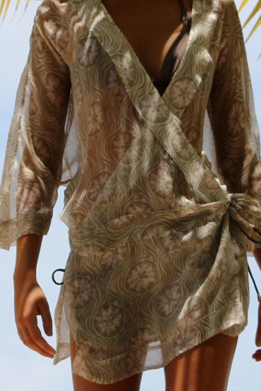Kimono in Silk Chiffon: SAND DOLLAR - TAUPE designer Lotty B Mustique exclusive holiday fashion