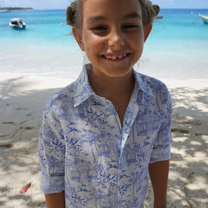 Childrens Linen Shirt: MUSTIQUE TOILE - BLUE on the beach Mustique