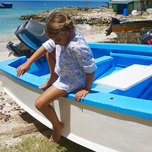 Childrens Linen Shirt: MUSTIQUE TOILE - BLUE fishing boat Mustique