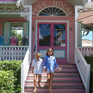Childrens Linen Shirt: FRENCH BLUE shopping at the Pink House boutique on Mustique