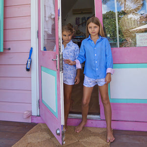 Childrens Linen Shirt: FRENCH BLUE Girls shopping at the Pink House boutique on Mustique
