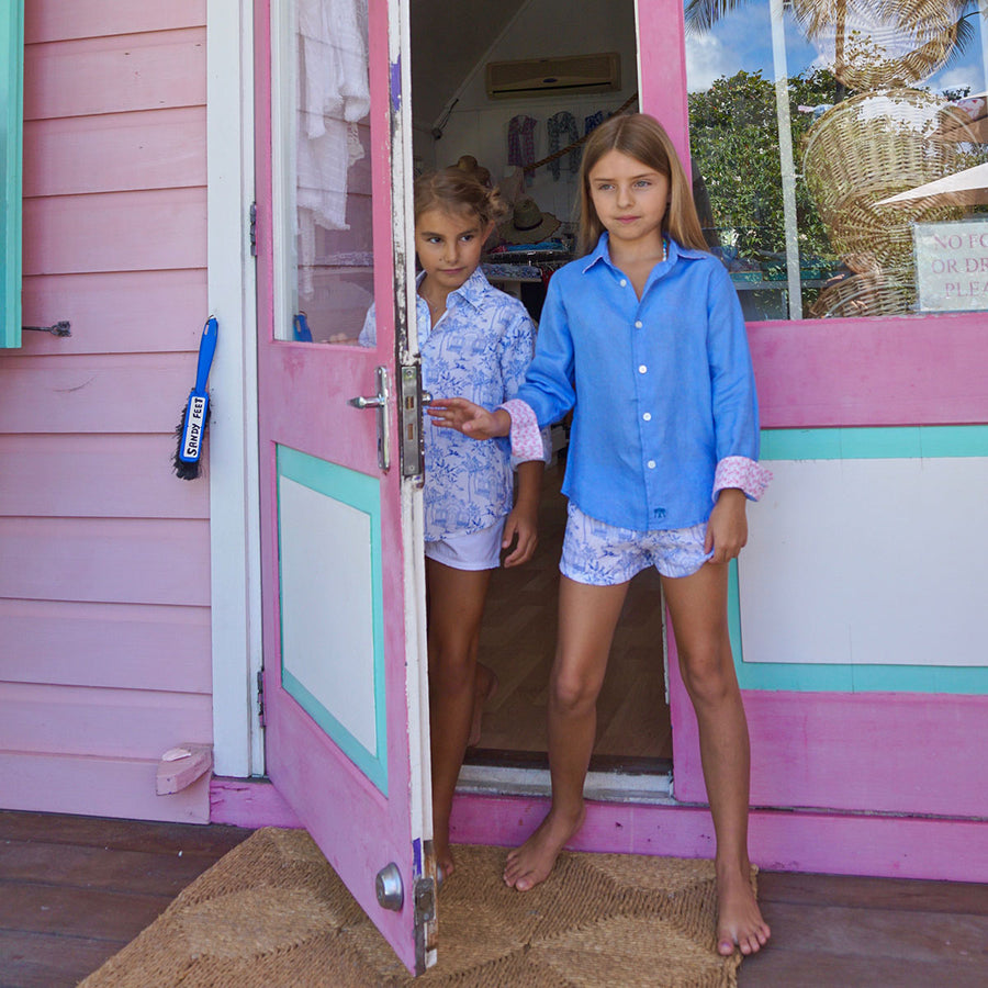 Childrens Linen Shirt: FRENCH BLUE. Designer Lotty B for Pink House Mustique