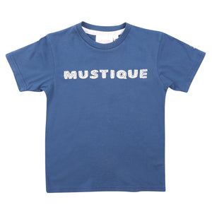 Childrens unisex T shirt: NAVY - WHITE MUSTIQUE applique - front