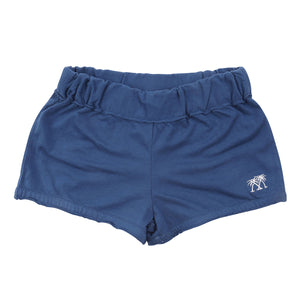 Childrens Beach Shorts: NAVY - WHITE MUSTIQUE applique - Front