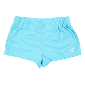 Childrens Beach Shorts: Turquoise - WHITE MUSTIQUE applique - Front