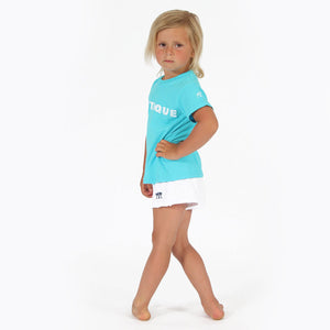 Childrens unisex T shirt: TUQUOISE - WHITE MUSTIQUE applique - side
