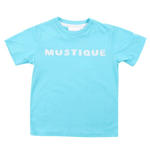 Childrens unisex T shirt: TUQUOISE - WHITE MUSTIQUE applique - front