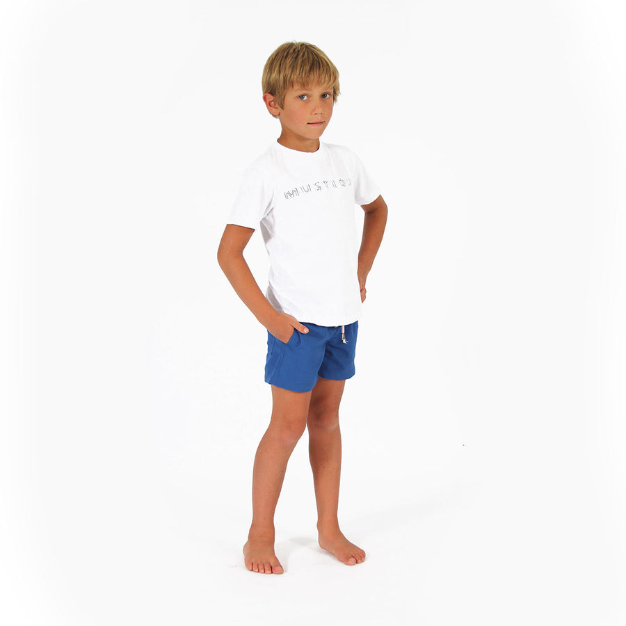 Childrens unisex T shirt: WHITE - WHITE MUSTIQUE applique - Front