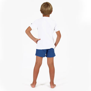Childrens unisex T shirt: WHITE - WHITE MUSTIQUE applique - back