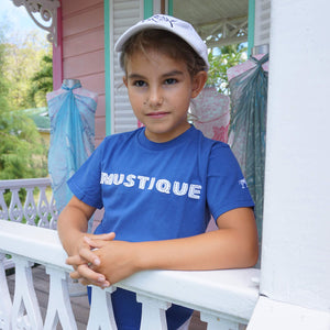 Childrens unisex T shirt: NAVY - WHITE MUSTIQUE applique - Mustique style