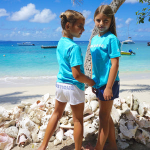 Childrens unisex T shirt: TUQUOISE - WHITE MUSTIQUE applique - beach life