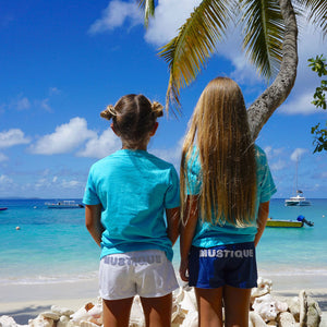 Childrens unisex T shirt: TUQUOISE - WHITE MUSTIQUE applique - Mustique style