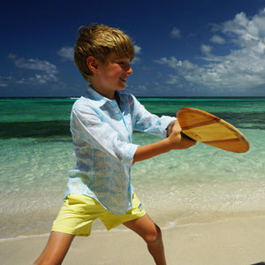 Childrens unisex linen shirt designer Lotty B Mustique kids beach style