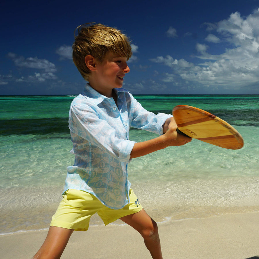 Childrens unisex linen shirt designer Lotty B Mustique resort wear
