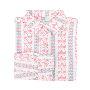 Childrens Linen Shirt: M PALM STRIPE RED