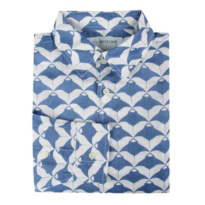 Childrens Linen Shirt: MANTA RAY NAVY