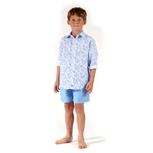 Childrens Linen Shirt : PASSION FRUIT - BLUE / WHITE designer Lotty B Mustique kids holiday wardrobe