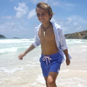 Childrens Linen Shirt : PASSION FRUIT - BLUE / WHITE designer Lotty B Mustique kids Caribbean vacation style