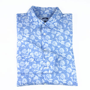 Childrens Linen Shirt : PASSION FRUIT - BLUE / WHITE designer Lotty B Mustique kids Caribbean fashion