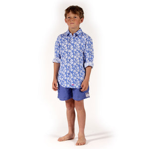Childrens Linen Shirt : PASSION FRUIT - NAVY / WHITE designer Lotty B Mustique boys holiday wear