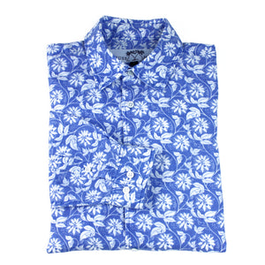 Childrens Linen Shirt : PASSION FRUIT - NAVY / WHITE designer Lotty B Mustique