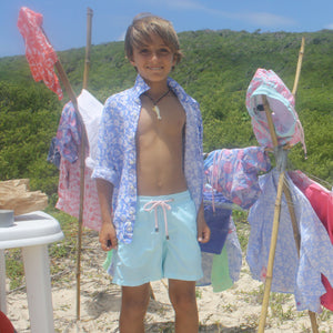 Childrens Linen Shirt : PASSION FRUIT - NAVY / WHITE designer Lotty B Mustique kids summer fashion