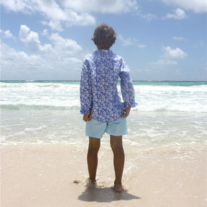 Childrens Linen Shirt : PASSION FRUIT - NAVY / WHITE designer Lotty B Mustique beach style
