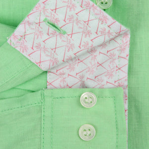 Childrens Linen Shirt: PISTACHIO GREEN detail