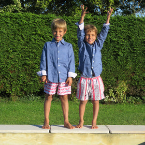 Childrens pure linen navy blue shirt & red blue guava print swim shorts  by Lotty B for Pink House Mustique, childrens vacation styles
