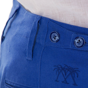 Mens Linen Trousers : DAZZLING BLUE waist adjusment tabs, designer Lotty B for Pink House Mustique