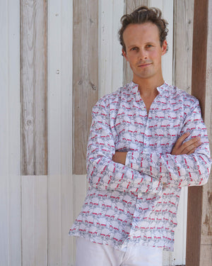 Mens Collarless Linen Shirt : MUSTIQUE MULE red Mustique lifestyle
