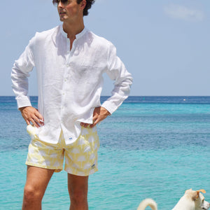 Mens swim trunks : FAN PALM - YELLOW, Mustique life