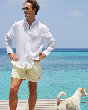 Mens Collarless Linen Shirt : CLASSIC WHITE on the pontoon with puppy, Mustique
