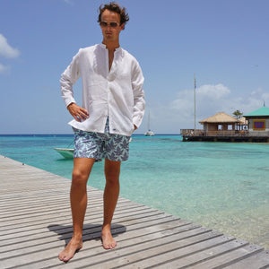Mens swim trunks : PAPAYA - GREY PALE BLUE, Mustique style