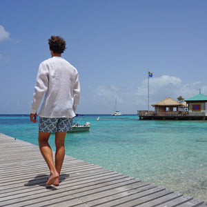 Mens swim trunks : PAPAYA - GREY PALE BLUE, on pontoon Mustique