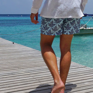 Mens swim trunks : PAPAYA - GREY PALE BLUE, Mustique Cotton Club jetty