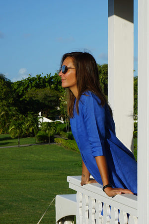 Linen Decima Dress in dazzling blue, designer Lotty B Mustique vacation wear