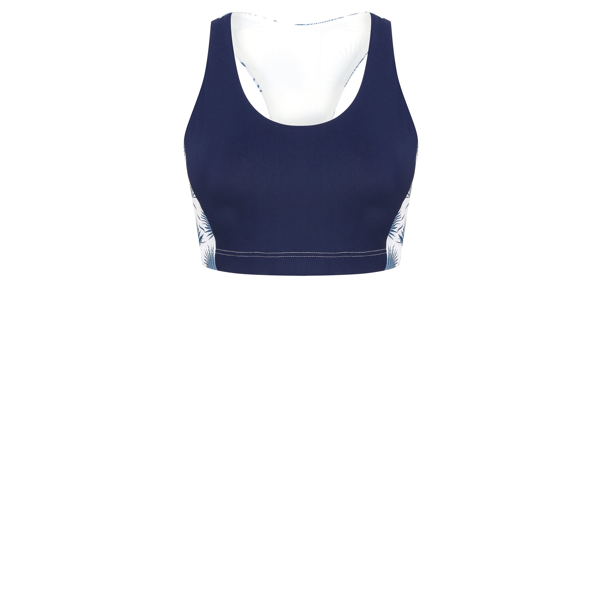 c8b1f87e8989a4 Sports Cropped Top : FAN PALM NAVY designed by Lotty B for Pink House  Mustique