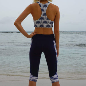 Contour panel cropped leggings : FAN PALM NAVY Designer Lotty B, Mustique lifestyle