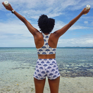 Sports Cropped Top : FAN PALM NAVY pilates Mustique style