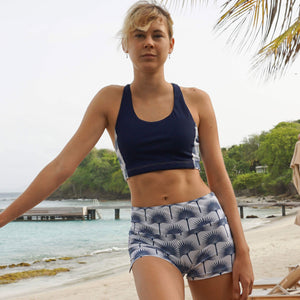 Sports Shorts : FAN PALM NAVY designed by Lotty B keep fit Mustique style