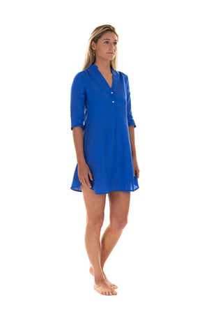 Linen Decima Dress in dazzling blue, designer Lotty B Mustique summer styles