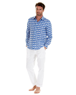 Linen shirt in Guava dazzling blue, designed by Lotty B Mustique Mens holiday clothing