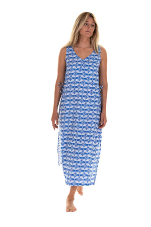 Womens Linen Long Maxi Boho Sun Dress, Guava blue print by Lotty B Mustique holiday fashion