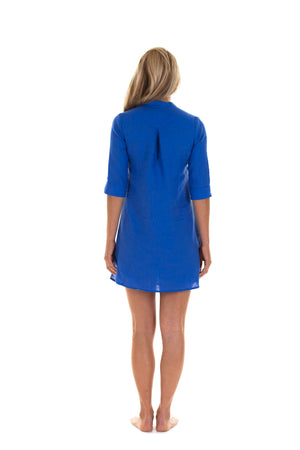 Linen Decima Dress in dazzling blue, designer Lotty B Mustique holiday fashion