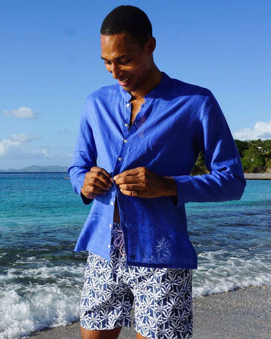 Mens Collarless Linen Shirt : DAZZLING BLUE designer Lotty B for Pink House Mustique